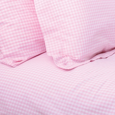 SINGLE DUVET COVER SET in Pink Gingham Design